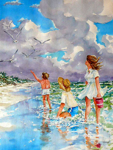 Acrylic Painting of children feeding seagulls while wading in the surf