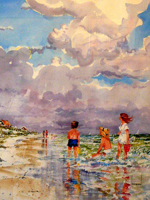 Acrylic Painting of a beach scene of children wading in the surf