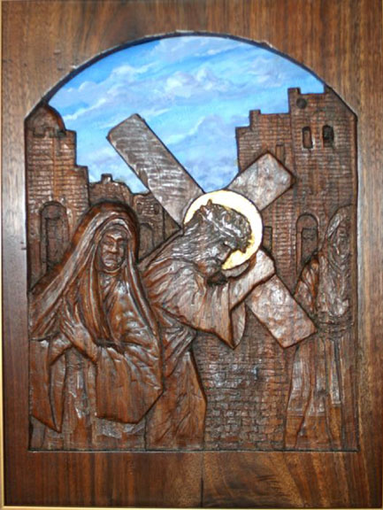 Stations of the Cross in wood and copper