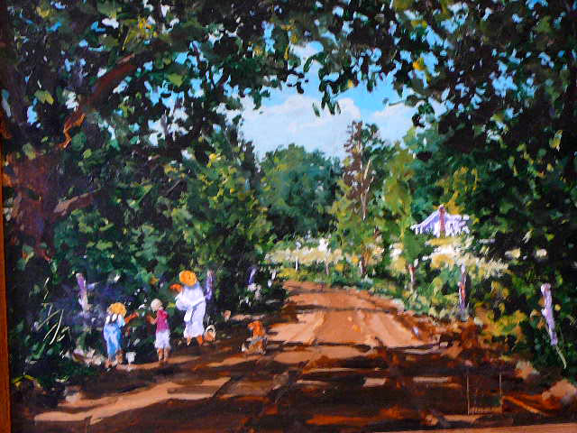 Oil Painting by Larry Strickland entitled Berry 	Picking