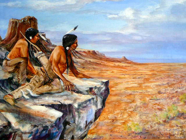 Oil Painting of Indians Keeping Lookout