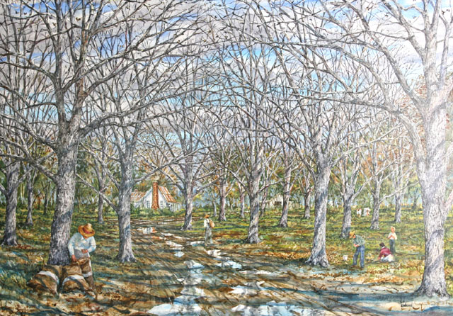 Oil Painting by Larry Strickland entitled Pecan Gatherers